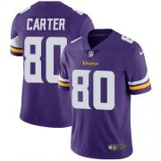 Wholesale Cheap Nike Vikings #80 Cris Carter Purple Team Color Men's Stitched NFL Vapor Untouchable Limited Jersey