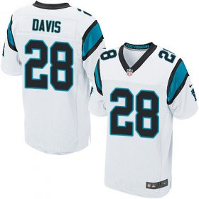 Wholesale Cheap Nike Panthers #28 Mike Davis White Men\'s Stitched NFL New Elite Jersey