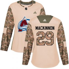 Wholesale Cheap Adidas Avalanche #29 Nathan MacKinnon Camo Authentic 2017 Veterans Day Women\'s Stitched NHL Jersey