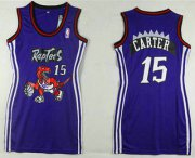 Wholesale Cheap Women's Toronto Raptors #15 Vince Carter Purple Dress