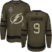 Wholesale Cheap Adidas Lightning #9 Tyler Johnson Green Salute to Service 2020 Stanley Cup Final Stitched NHL Jersey
