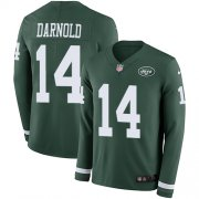 Wholesale Cheap Nike Jets #14 Sam Darnold Green Team Color Men's Stitched NFL Limited Therma Long Sleeve Jersey