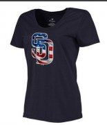 Wholesale Cheap Women's San Diego Padres USA Flag Fashion T-Shirt Navy Blue
