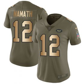 Wholesale Cheap Nike Jets #12 Joe Namath Olive/Gold Women\'s Stitched NFL Limited 2017 Salute to Service Jersey