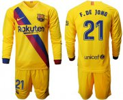 Wholesale Cheap Barcelona #21 F.De Jong Away Long Sleeves Soccer Club Jersey