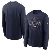 Wholesale Cheap Denver Broncos Nike Icon Legend Performance Long Sleeve T-Shirt Navy
