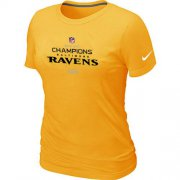 Wholesale Cheap Women's Nike Baltimore Ravens 2012 AFC Conference Champions Trophy Collection Long T-Shirt Yellow