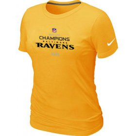 Wholesale Cheap Women\'s Nike Baltimore Ravens 2012 AFC Conference Champions Trophy Collection Long T-Shirt Yellow