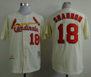 Wholesale Cheap Mitchell And Ness 1964 Cardinals #18 Mike Shannon Cream Stitched MLB Jersey