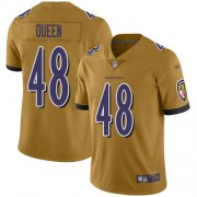 Wholesale Cheap Nike Ravens #48 Patrick Queen Gold Men's Stitched NFL Limited Inverted Legend Jersey