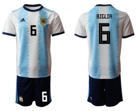 Wholesale Cheap Argentina #6 Biglia Home Soccer Country Jersey
