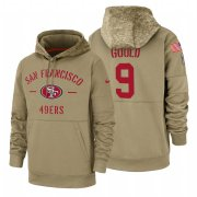 Wholesale Cheap San Francisco 49ers #9 Robbie Gould Nike Tan 2019 Salute To Service Name & Number Sideline Therma Pullover Hoodie