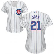 Wholesale Cheap Cubs #21 Sammy Sosa White(Blue Strip) Home Women's Stitched MLB Jersey