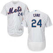 Wholesale Cheap Mets #24 Robinson Cano White(Blue Strip) Flexbase Authentic Collection Stitched MLB Jersey