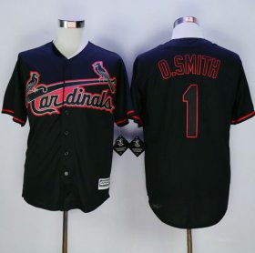 Wholesale Cheap Cardinals #1 Ozzie Smith Black New Cool Base Fashion Stitched MLB Jersey