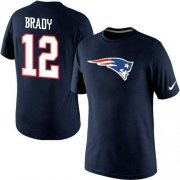 Wholesale Cheap Nike New England Patriots #12 Tom Brady Name & Number NFL T-Shirt Navy Blue