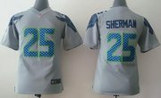 Wholesale Cheap Nike Seahawks #25 Richard Sherman Grey Alternate Youth Stitched NFL Elite Jersey