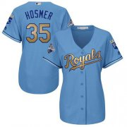 Wholesale Cheap Royals #35 Eric Hosmer Light Blue Women's 2015 World Series Champions Gold Program Cool Base Stitched MLB Jersey