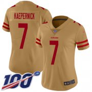 Wholesale Cheap Nike 49ers #7 Colin Kaepernick Gold Women's Stitched NFL Limited Inverted Legend 100th Season Jersey
