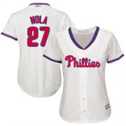 Wholesale Cheap Phillies #27 Aaron Nola Cream Alternate Women's Stitched MLB Jersey