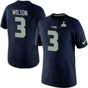 Wholesale Nike Seattle Seahawks #3 Russell Wilson Pride Name & Number 2015 Super Bowl XLIX NFL T-Shirt Navy Blue