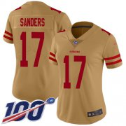 Wholesale Cheap Nike 49ers #17 Emmanuel Sanders Gold Women's Stitched NFL Limited Inverted Legend 100th Season Jersey