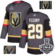 Wholesale Cheap Adidas Golden Knights #29 Marc-Andre Fleury Grey Home Authentic Fashion Gold 2018 Stanley Cup Final Stitched NHL Jersey