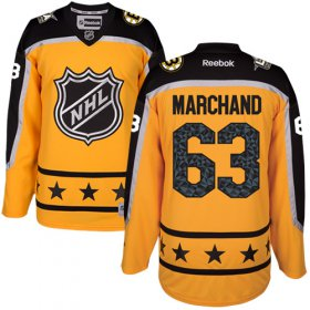 Wholesale Cheap Bruins #63 Brad Marchand Yellow 2017 All-Star Atlantic Division Women\'s Stitched NHL Jersey
