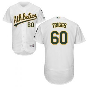 Wholesale Cheap Athletics #60 Andrew Triggs White Flexbase Authentic Collection Stitched MLB Jersey