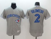 Wholesale Cheap Blue Jays #2 Troy Tulowitzki Grey Flexbase Authentic Collection Stitched MLB Jersey