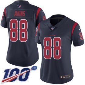 Wholesale Cheap Nike Texans #88 Jordan Akins Navy Blue Women\'s Stitched NFL Limited Rush 100th Season Jersey