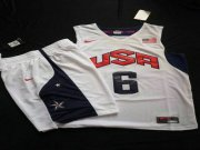 Wholesale Cheap 2012 Olympics Team USA 6 LeBron James White Basketball Suit