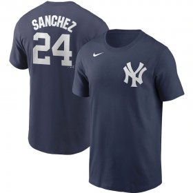 Wholesale Cheap New York Yankees #24 Gary Sanchez Nike Name & Number T-Shirt Navy