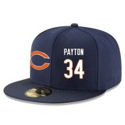 Wholesale Cheap Chicago Bears #34 Walter Payton Snapback Cap NFL Player Navy Blue with White Number Stitched Hat