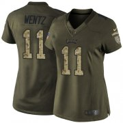 Wholesale Cheap Nike Eagles #11 Carson Wentz Green Women's Stitched NFL Limited 2015 Salute to Service Jersey
