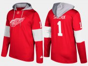 Wholesale Cheap Red Wings #1 Terry Sawchuk Red Name And Number Hoodie