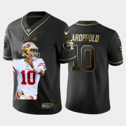 Cheap San Francisco 49ers #10 Jimmy Garoppolo Nike Team Hero 3 Vapor Limited NFL 100 Jersey Black Golden