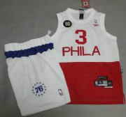 Wholesale Cheap Philadelphia 76ers #3 Allen Iverson White With Red NBA Jerseys Shorts Suits