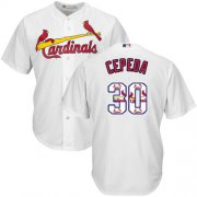 Wholesale Cheap Cardinals #30 Orlando Cepeda White Team Logo Fashion Stitched MLB Jersey