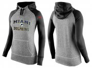 Wholesale Cheap Women's Nike Miami Dolphins Performance Hoodie Grey & Black