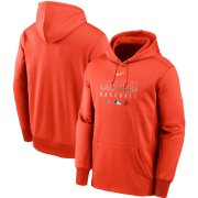 Wholesale Cheap Men's Baltimore Orioles Nike Orange Authentic Collection Therma Performance Pullover Hoodie