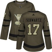 Wholesale Cheap Adidas Blues #17 Jaden Schwartz Green Salute to Service Women's Stitched NHL Jersey