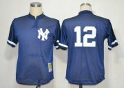 Wholesale Cheap Mitchell And Ness 1995 Yankees #12 Wade Boggs Blue Throwback Stitched MLB Jersey