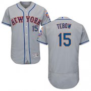 Wholesale Cheap Mets #15 Tim Tebow Grey Flexbase Authentic Collection Stitched MLB Jersey