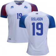 Wholesale Cheap Iceland #19 Gislason Away Soccer Country Jersey