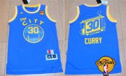 Wholesale Cheap Men's Golden State Warriors #30 Stephen Curry Retro Blue 2017 The NBA Finals Patch Jersey