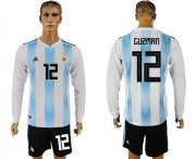 Wholesale Cheap Argentina #12 Guzman Home Long Sleeves Soccer Country Jersey