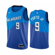 Wholesale Cheap Nike Bucks #9 Bobby Portis Blue NBA Swingman 2020-21 City Edition Jersey