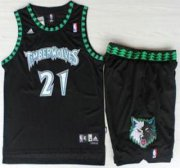 Wholesale Cheap Minnesota Timberwolves #21 Kevin Garnett Black Hardwood Classics Revolution 30 Jersey Short Suits