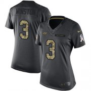 Wholesale Cheap Nike Buccaneers #3 Jameis Winston Black Women's Stitched NFL Limited 2016 Salute to Service Jersey